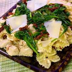 Mascarpone Pasta with Chicken, Bacon & Spinach - hubby's choice this evening for his birthday dinner. #pasta #recipes for #dinner