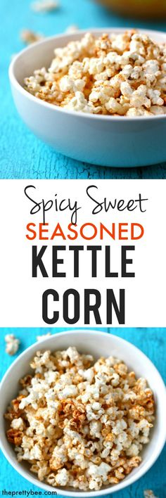 This spicy sweet seasoned kettle corn is absolutely addictive! Gluten free, dairy free, and so tasty!