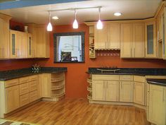 best paint colors for kitchen with maple cabinets - Google Search