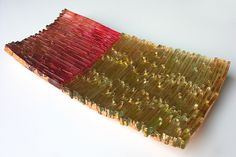 """""""Copper Embers""""  Art Glass Sushi Tray    Created by Mira Woodworth  Cast reclaimed glass, finished with enamels and variegated copper leaf.     Dimensions: 2.0in H x 15.0in L x 7.0in D  $550.00"""