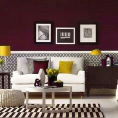 Burgundy gray with accent yellow