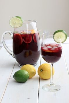 Tangy lemon and lime infused Sangria. #food #drinks #alcohol
