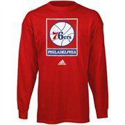 adidas Philadelphia 76ers Full Primary Logo Long Sleeve T-Shirt - Red