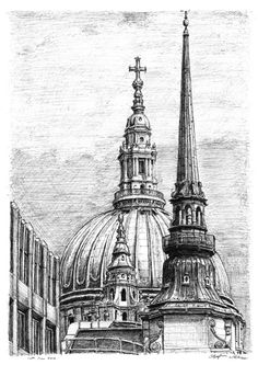 The Dome of St Pauls Cathedral - drawings and paintings by Stephen Wiltshire MBE