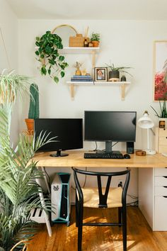 Our Home Office/Guest Bedroom — Black & Blooms – home office ideas for two Guest Bedroom Home Office, Bedroom Office Combo, 1 Bedroom Apartment, Home Office Space, Home Office Design, Home Office Furniture, Home Office Decor, Home Decor, Guest Room