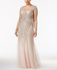 392b6a52 Adrianna Papell Plus Size Sequin A-Line Gown & Reviews - Dresses - Women -  Macy's