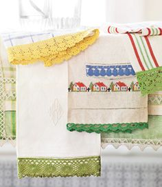 Ready-made edgings and borders, available by the yard at fabric stores or adapted from flea-market finds, make it easy to transform even the simplest home textiles into vintage-style home accessories. You can machine- or hand-stitch the filigree embellishments to almost any fabric surface — dish towels, bath towels, bedding, or attire — in an afternoon.   - CountryLiving.com