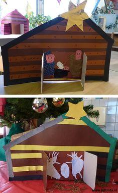 Deze kerststal is gemaakt van bruin karton (met een grijze achterkant). Van te voren is het schuine dak voorgetekend en de lijnen voor de deuren. De stal is beplakt met stroken alszijnde planken. Achter de opengevouwen deuren is weer een stuk karton geplakt. Hierop zijn Jozef, Maria en Jezus gemaakt van stof en papier.
