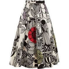 Junya Watanabe Graphic floral-print bonded-cotton midi skirt ($665) ❤ liked on Polyvore featuring skirts, patterned skirts, floral pleated skirt, pleated a line skirt, print skirt and floral midi skirts