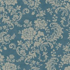 Sapphire Oasis Sapphire Blue Satin and Creamy Taupe Silk Floral Wallpaper
