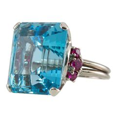 OSCAR HEYMAN Aquamarine Ring | From a unique collection of vintage cocktail rings at http://www.1stdibs.com/jewelry/rings/cocktail-rings/  #oscarheyman #craigevansmall