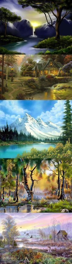 By Bob Ross I want a bob Ross painting! Pictures To Paint, Art Pictures, Pinturas Bob Ross, Bob Ross Art, Bob Ross Paintings, The Joy Of Painting, Wow Art, Learn To Paint, Beautiful Paintings