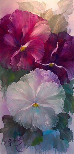 oil - Dear Old Pansies by Micheal Giddens Group: Peace and Tranquility.
