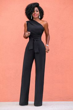 Style Pantry   One Shoulder Drape Jumpsuit w/Belt