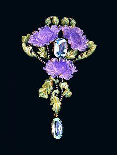 René Lalique Brooch: Untitled, Paris, about 1902 Gold, glass, aquamarines, diamonds Photo by: Günther Meyer Part of: VG Bild-Kunst, Bonn 2015 Published at: Schmuckmuseum Pforzheim