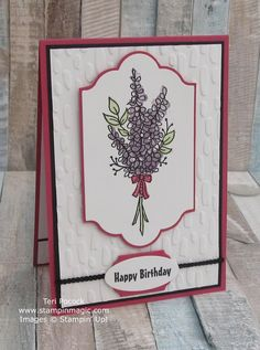 Lots Of Lavender by Stampin Up. Created by UK Independent Demonstrator Teri Pocock. Lavender Stamp, Mom Cards, Stampin Up Catalog, Card Kit, Stamping Up, Creative Cards, Flower Cards, Scrapbook Cards, Homemade Cards