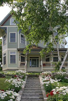 Victorian home in Bay View near Petoskey, MI. Bay View was founded as a Methodist camp in 1875 overlooking Little Traverse Bay and has many beautiful old Victorian era cottages.