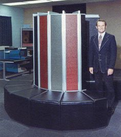 Seymour Cray, Jr., the father of the supercomputer, is seen in this undated photo standing near one of Cray Research's supercomputers.