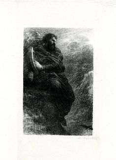 """Dans les montagnes (1888), lithograph by Henri Fantin-Latour (1836-1904) [published in """"Hector Berlioz: sa vie et ses œuvres"""", facing page 104], from 1st movement of """"Harold en Italie"""" (1834), by Hector Berlioz (1803-1869)."""