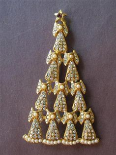 Vintage 1980s AB Crystal Angel Christmas Tree Brooch