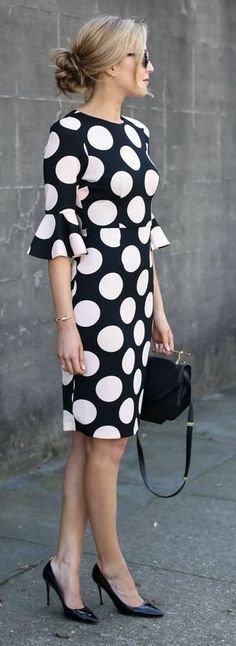 Black and White Polka Dot Bell Sleeve Dress, Black Bag And Pumps | Memorandum