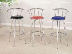 "29""h Cucina Blue Chrome Plated Swivel Bar Chair By Acme Furniture . $97.70"