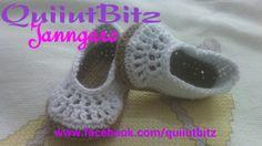 Balerinas para bebé a crochet en algodón blanco y paja. www.facebook.com/quiiutbitz