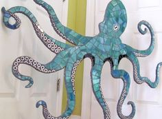 Large 4 ft Stained Glass Mosaic Octopus Wall Art
