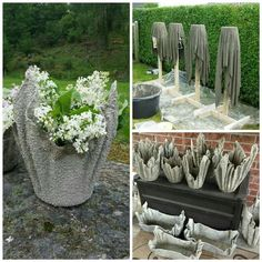 Tests of 8 kinds of different fabrics & fibre… Best 12 Concrete draping tutorial. Tests of 8 kinds of different fabrics & fibres for portland cement dipping to make draped concrete pots or – SkillOfKing. Diy Garden, Garden Cottage, Garden Boxes, Garden Art, Concrete Pots, Concrete Garden, Concrete Planters, Jardin Vertical Artificial, Decoration Photo