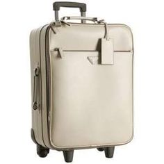 Prada Ivory Saffiano Leather Rolling Suitcase