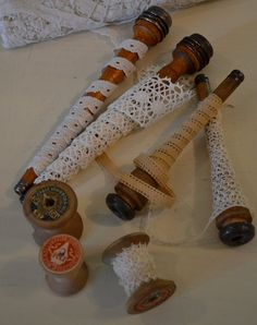 French Antique Wooden Bobbins with French Lace, for that sack of old lace and ribbons