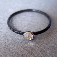 Tiny Stacking Ring  Rose Cut Clear Quartz  Rustic by LunasaDesigns