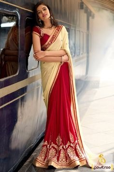 Buy saree for farewell party in cream red color online with chic designer blouse piece at best offer prices. Grab the trendiest wedding occasion saree with discount sale. #saree, #designersaree more: http://www.pavitraa.in/store/designer-collection/
