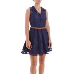 Sleeveless Lace Dress w/ Braided Belt - Jr.