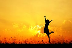 Happy: I chose a person jumping in a sunset because it represents a feeling of core happiness to live life