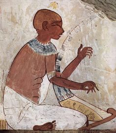 blind harpist, tomb of Nakht, scribe and priest under Pharaoh Tuthmosis IV (18th Dynasty, 16th-14th BCE), in the cemetery of Sheikh Abd al-Qurnah. Tombs of Nobles, Luxor-Thebes, Egypt