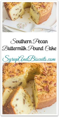 Home Decor Eclectic Southern Pecan Buttermilk Pound Cake. A traditional Southern pound cake with added flavor from pecans. Pound cakes are best know for their dense texture. Nutella Brownies, Köstliche Desserts, Delicious Desserts, Dessert Recipes, Homemade Desserts, Plated Desserts, Recipes Dinner, Fall Recipes, Yummy Food