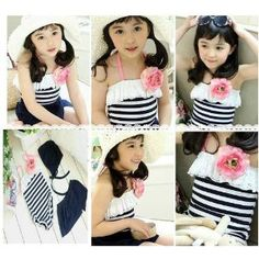 Blue Stripes Swimsuit with Pink Flower for Baby and Girl  : so cute!!!