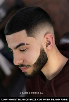 You'll love this modern low-maintenance buzz cut with beard fade is trending right now! Next, tap here to learn more about this look and also check out the rest of these 22 most popular beard fade haircuts for a trendy style. // Photo Credit: @barberodessa on Instagram Cool Short Hairstyles, Best Short Haircuts, Girl Haircuts, Hairstyles Haircuts, Haircuts For Men, Barber Haircuts, Medium Hairstyles, Wedding Hairstyles, Short Quiff Haircut