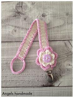 Gehaakte speenkoord met bloem, gratis haakpatroon. #crochet baby flower free pattern