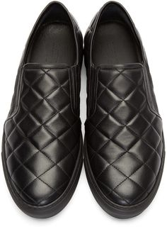 Balmain Black Leather Quilted Slip-On Sneakers