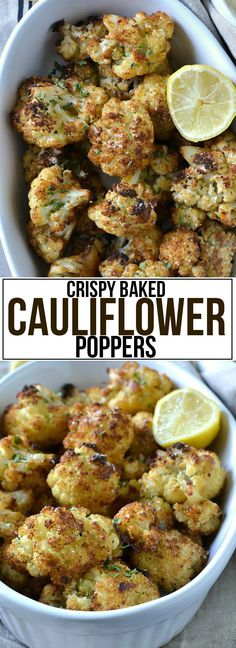 Crispy Baked Cauliflower Poppers - Mother Thyme - Yemek Tarifleri - Resimli ve Videolu Yemek Tarifleri Vegetable Dishes, Vegetable Recipes, Vegetarian Recipes, Cooking Recipes, Healthy Recipes, Baked Veggie Recipes, Cauliflower Poppers, Cauliflower Recipes, Baked Cauliflower Whole