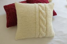 Chunky knit offwhite pillow cover thick yarn hand by Adorablewares, $49.00
