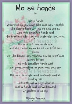 Ouma - Dit is daardie sagte werkershande wat ek vandag mis, dieselfde hande wat die kombers om my Winter'slyf sou vou. Mamma dankie dat U altyd daar is vir my. Hug Quotes, Home Quotes And Sayings, Family Quotes, Afrikaans Language, Message For Mother, Afrikaanse Quotes, Quotes About Motherhood, Strong Quotes, Father's Day