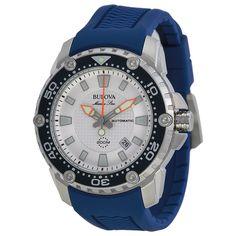 Bulove Marine Star Automatic Silver Dial Orange Rubber Men's Watch 98B208