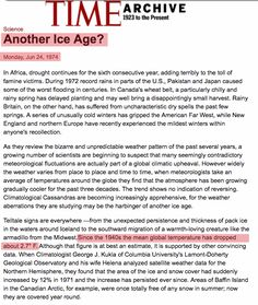 """Time Magazine article from June 1974 says, """"Since the 1940's the mean global temperature has dropped about 2.7 degrees F (1.5 C)."""