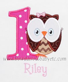 Personalized Owl Birthday Shirt Number by bowdaciousbaby on Etsy, $20.00    This is the one I really like...but I like the sets with the bloomer and bib too.