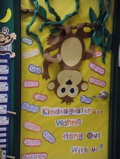 Monkey Theme Classroom | our door welcome to kindergarten no more monkeying around behavior