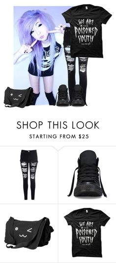 """""""Untitled #67"""" by rixzs ❤ liked on Polyvore featuring Glamorous, Converse and casualoutfit"""