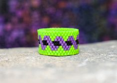 PEYOTE RING  Twisted Witch  beaded ring